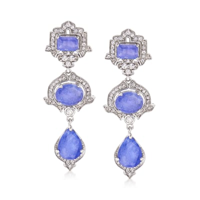 6.40 ct. t.w. Tanzanite and .80 ct. t.w. White Topaz Three-Tier Drop Earrings in Sterling Silver