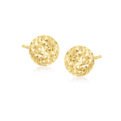 Italian 18kt Yellow Gold Diamond-Cut Dome Stud Earrings
