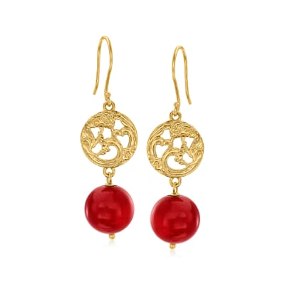 Red Coral Openwork Drop Earrings in 18kt Gold Over Sterling