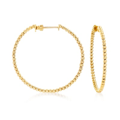 Gabriel Designs 14kt Yellow Gold Beaded Hoop Earrings