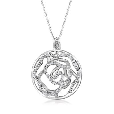 .51 ct. t.w. Diamond Openwork Floral Pendant Necklace in Sterling Silver