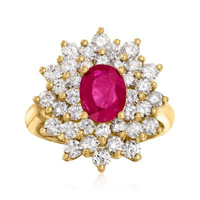 1.75 ct. t.w. Diamond and 1.50 Carat Ruby Frame Ring in 14kt Yellow Gold