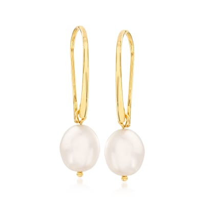 10x8mm Cultured Pearl Drop Earrings in 14kt Yellow Gold