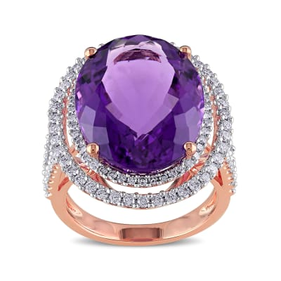 19.25 Carat Amethyst Ring with .93 ct. t.w. Diamonds in 14kt Rose Gold