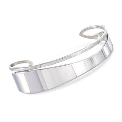 Italian Sterling Silver Cutout Cuff Bracelet