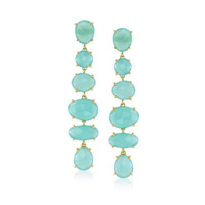 Green Chalcedony Linear Drop Earrings in 18kt Gold Over Sterling