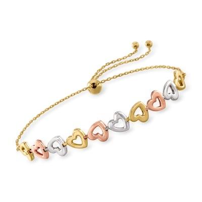 14kt Tri-Colored Gold Heart Bolo Bracelet