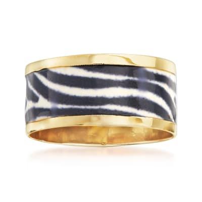 Italian Zebra-Print Enamel Ring in 14kt Yellow Gold