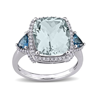 5.00 Carat Aquamarine, .60 ct. t.w. Blue Topaz and .30 ct. t.w. Diamond Halo Ring in 14kt White Gold
