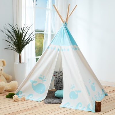 Child's Hide 'N Seek Blue and White Teepee Tent