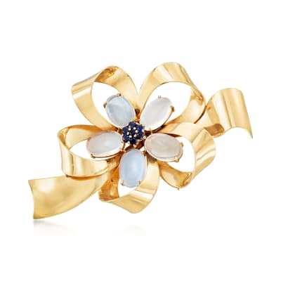 C. 1970 Vintage 8.50 ct. t.w. Moonstone and .55 ct. t.w. Sapphire Bow Pin in 14kt Yellow Gold