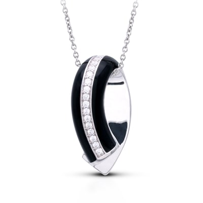 "Belle Etoile ""Tenuto"" Black Enamel and .30 ct. t.w. CZ Pendant in Sterling Silver"