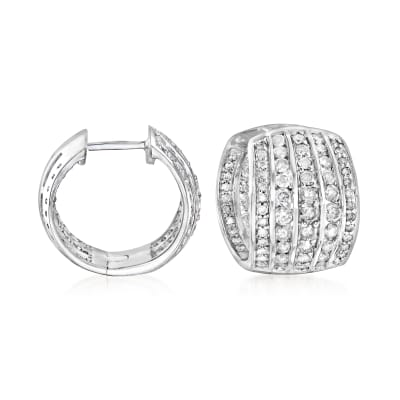 2.00 ct. t.w. Diamond Five-Row Hoop Earrings in Sterling Silver