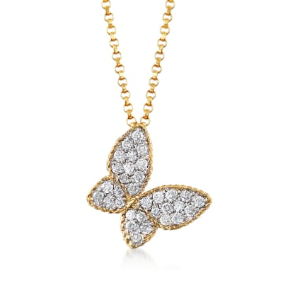 Roberto Coin .25 ct. t.w. Diamond Butterfly Necklace in 18kt Yellow Gold