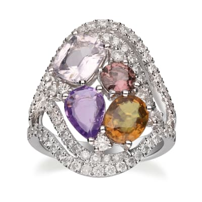 4.50 ct. t.w. Multicolored Sappphire and 1.20 ct. t.w. Diamond Ring in 14kt White Gold