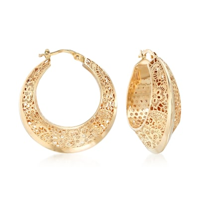Italian 14kt Yellow Gold Floral Filigree Hoop Earrings