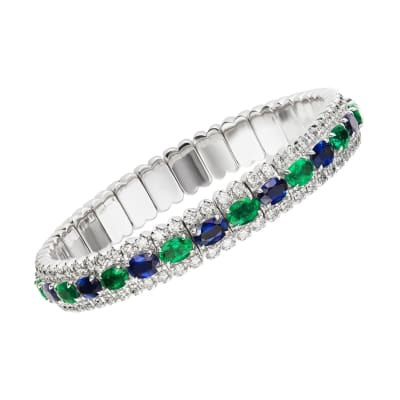 7.90 ct. t.w. Sapphire and 6.50 ct. t.w. Emerald Bangle Bracelet with 4.05 ct. t.w. Diamonds in 18kt White Gold