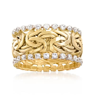 1.25 ct. t.w. CZ Byzantine Eternity Band in 14kt Yellow Gold