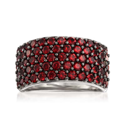 2.26 ct. t.w. Garnet Multi-Row Ring in Sterling Silver