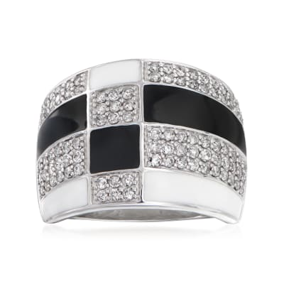 .75 ct. t.w. Diamond and Enamel Panel Dome Ring in Sterling Silver