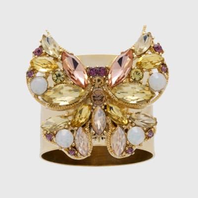 Joanna Buchanan Set of 2 Yellow Jeweled Butterfly Napkin Rings