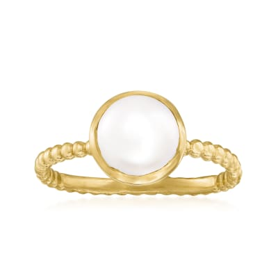 8mm Cultured Pearl Roped Ring in 18kt Gold Over Sterling