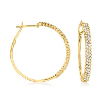 1.00 ct. t.w. Diamond Two-Row Hoop Earrings in 14kt Yellow Gold