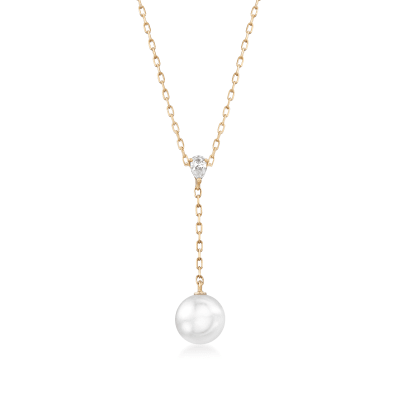 Mikimoto 7.5mm A+ Akoya Pearl Y-Necklace with Diamond Accent in 18kt Yellow Gold