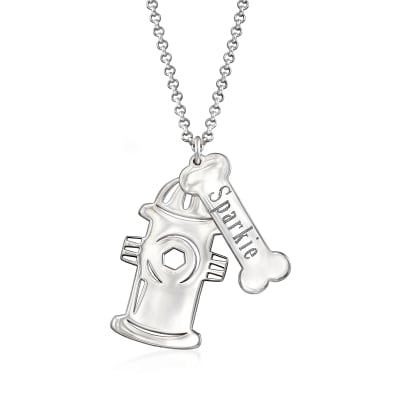 Personalized Fire Hydrant Charm Necklace in Sterling Silver