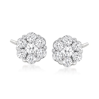 .25 ct. t.w. Diamond Floral Stud Earrings in 14kt White Gold