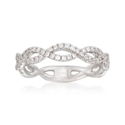 Simon G. .33 ct. t.w. Diamond Twisted Wedding Ring in 18kt White Gold