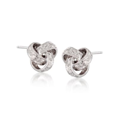 Diamond Accent Love Knot Earrings in 14kt White Gold