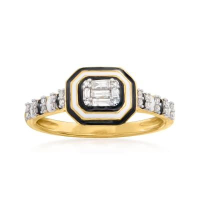 .15 ct. t.w. Diamond Cluster and Striped Enamel Ring in 14kt Yellow Gold