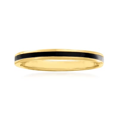 Black Enamel and 14kt Yellow Gold Ring