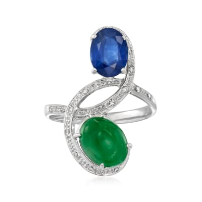 C. 1990 Vintage Jade, 1.53 Carat Sapphire and .12 ct. t.w. Diamond Bypass Ring in 18kt White Gold