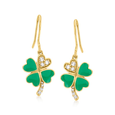 Green Enamel Four-Leaf Clover Drop Earrings with .10 ct. t.w. Diamonds in 18kt Gold Over Sterling
