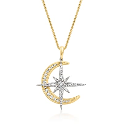 .50 ct. t.w. Diamond Star and Moon Pendant Necklace in Two-Tone Sterling Silver