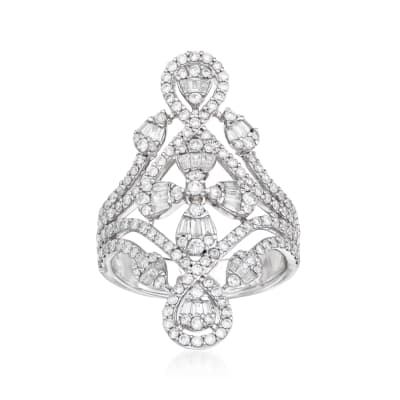 2.10 ct. t.w. Baguette and Round Diamond Openwork Ring in 14kt White Gold