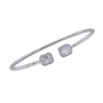 .75 ct. t.w. Baguette and Round Diamond Cluster Cuff Bracelet in 18kt White Gold