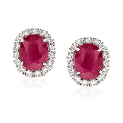 5.00 ct. t.w. Ruby and 1.15 ct. t.w. Diamond Earrings in 18kt White Gold