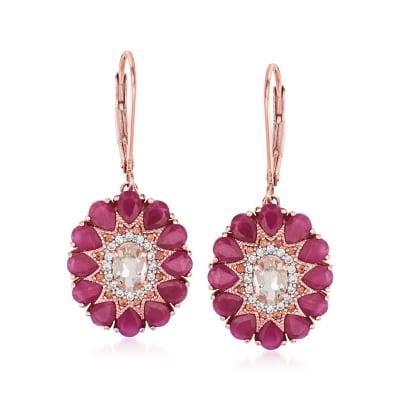 7.00 ct. t.w. Multi-Gemstone Drop Earrings in 18kt Rose Gold Over Sterling Silver