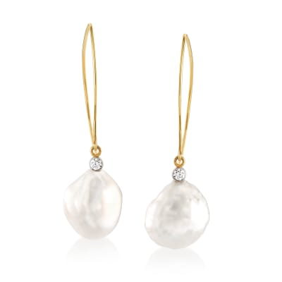 Mazza 16x14mm Cultured Baroque Pearl and .20 ct. t.w. Diamond Drop Earrings in 14kt Yellow Gold