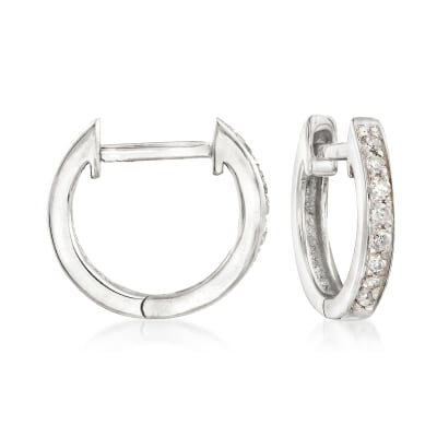 .10 ct. t.w. Diamond Huggie Hoop Earrings in 14kt White Gold