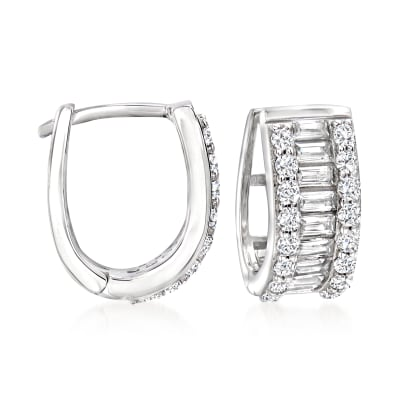 1.30 ct. t.w. Baguette and Round CZ Huggie Hoop Earrings in Sterling Silver