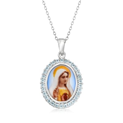 1.50 ct. t.w. Sky Blue Topaz Our Lady of Fatima Pendant Necklace in Sterling Silver