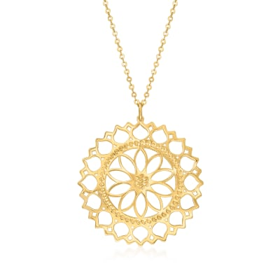 Italian 14kt Yellow Gold Cut-Out Flower Necklace