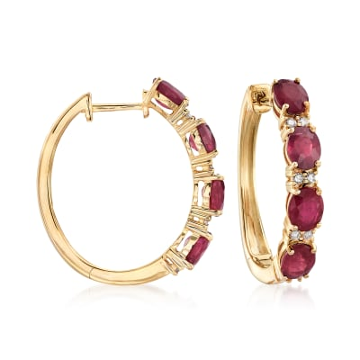 4.00 ct. t.w. Ruby and .19 ct. t.w. Diamond Hoop Earrings in 14kt Yellow Gold