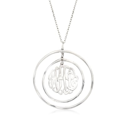 Sterling Silver Monogram Open-Space Circle Pendant Necklace