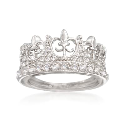.89 ct. t.w. CZ Fleur-De-Lis Crown Ring in Sterling Silver