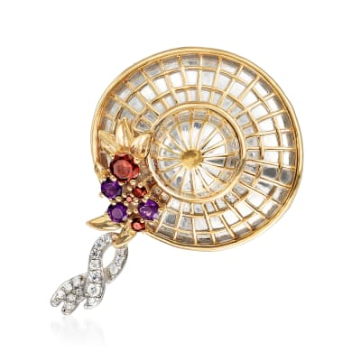 5.50 ct. t.w. Multi-Gem Fancy Hat Pin in Sterling Silver and 18kt Gold Over Sterling